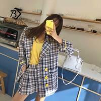 Women's Plaid Short Pant Suits Top Jacket Blazer Loose Pant Suit Single Button Femme Korea Full Two Piece Set Hot Sales S96114Z