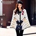 Dabuwawa белый плед шерстяное пальто 2016 новых осенью и зимой корейский моды вышивка роза молния плащ куртка розовая кукла