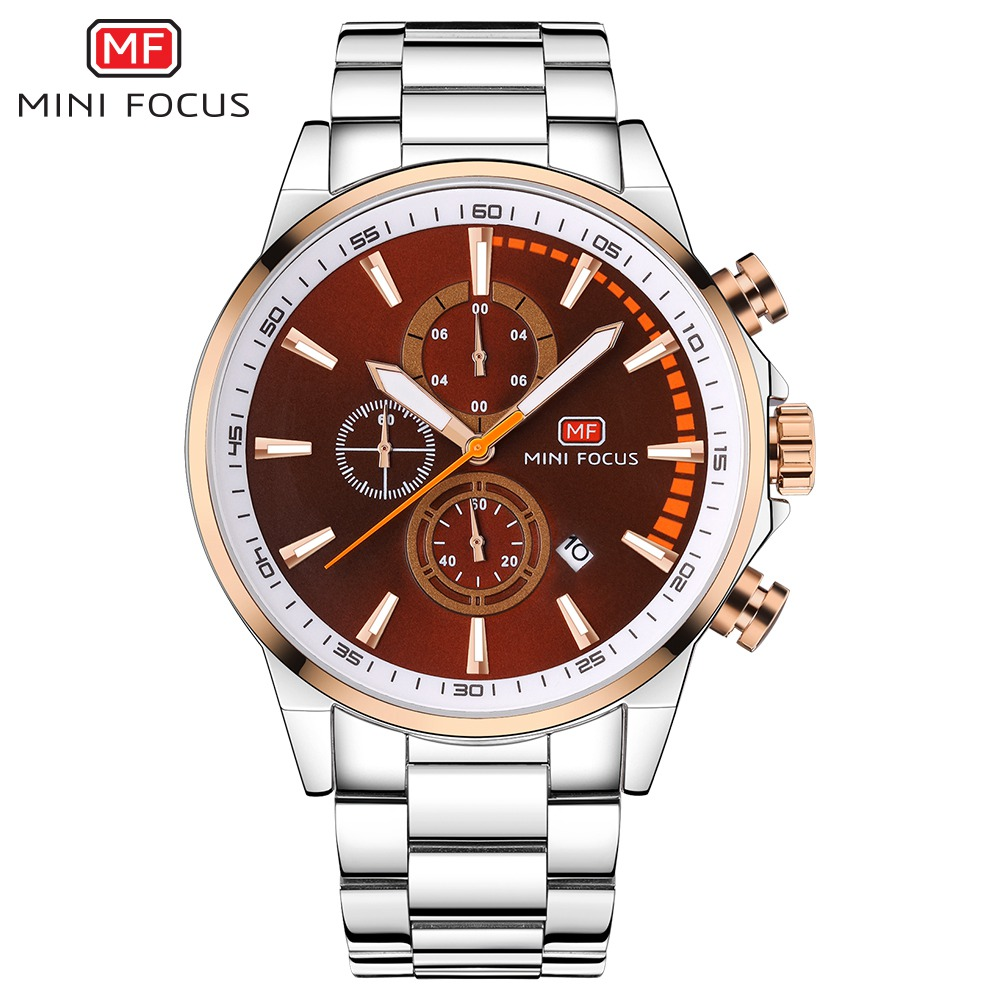 MINI FOCUS Top Brand Men Watches Luxury Sport Waterproof Quartz Watch Men's Stainless Steel Auto Date Wristwatches relogio saat skmei luxury brand stainless steel strap analog display date moon phase men s quartz watch casual watch waterproof men watches