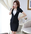 Novelty Black Fashion Slim Professional Business Women Suits Jackets And Skirt Formal OL Styles Summer Ladies Blazers Set