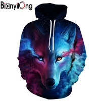 BIANYILONG Hot Fashion Hoodies Men Women 3d Sweatshirts Print Fire Dragon Hooded Hoodies Snake Sweatshirts Unisex