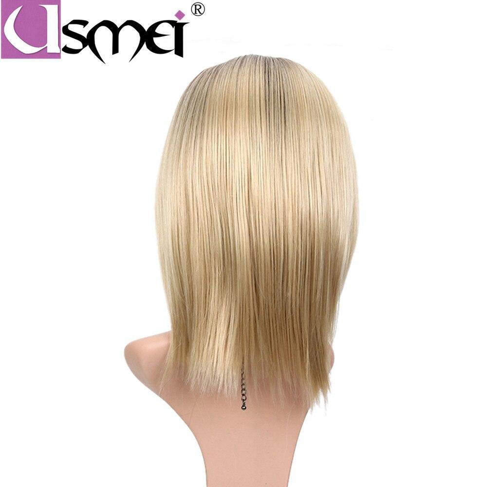 USMEI raka syntetiska peruker sida del ombre färg för vita kvinnor - Syntetiskt hår - Foto 5