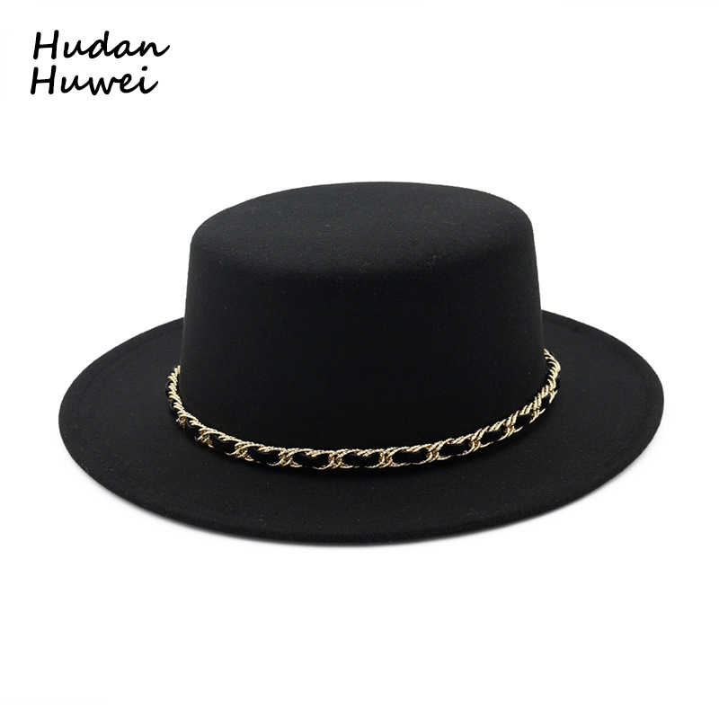 European US Women Wool felt Boater hat Flat Top Fedoras hats with Chain  Band wide brim 875704e20cbc