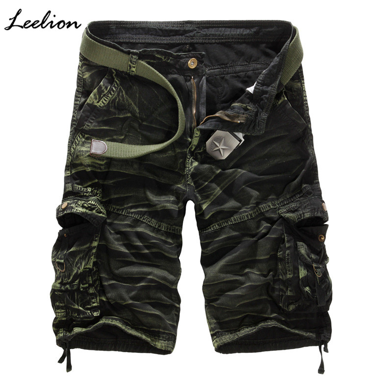 Leelion 2018 Summer Cotton Short Homme Camouflage Loose Mens Shorts With Pockets Button Zipper Fashion Casual Cargo Shorts Men