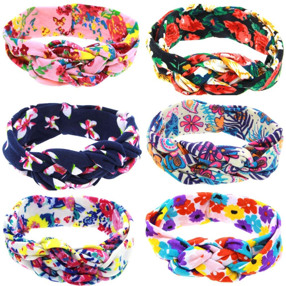 Bright color headband elastic cotton Peony Printing Intersect Cloth Headband kids hair accessories #121