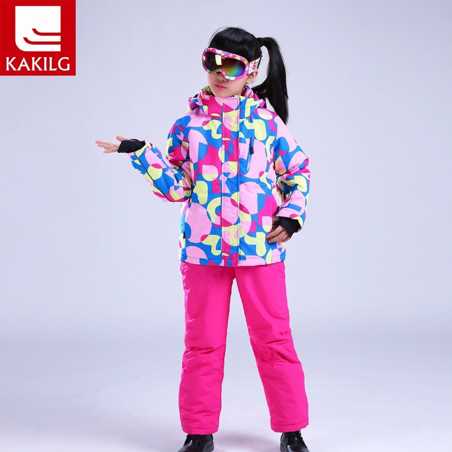 Children Winter Snow Jacket Snow Pants Set for Girls Snowboard Ski Outdoor Sports Hood Windbreaker/Coat +Pants Thickening Suits недорого