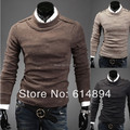 Pullover Sweater Men 2017 Spring Autumn New O-Neck Epaulet Fashion Trend Slim Pure Color Men Pull Homme knit Sweater