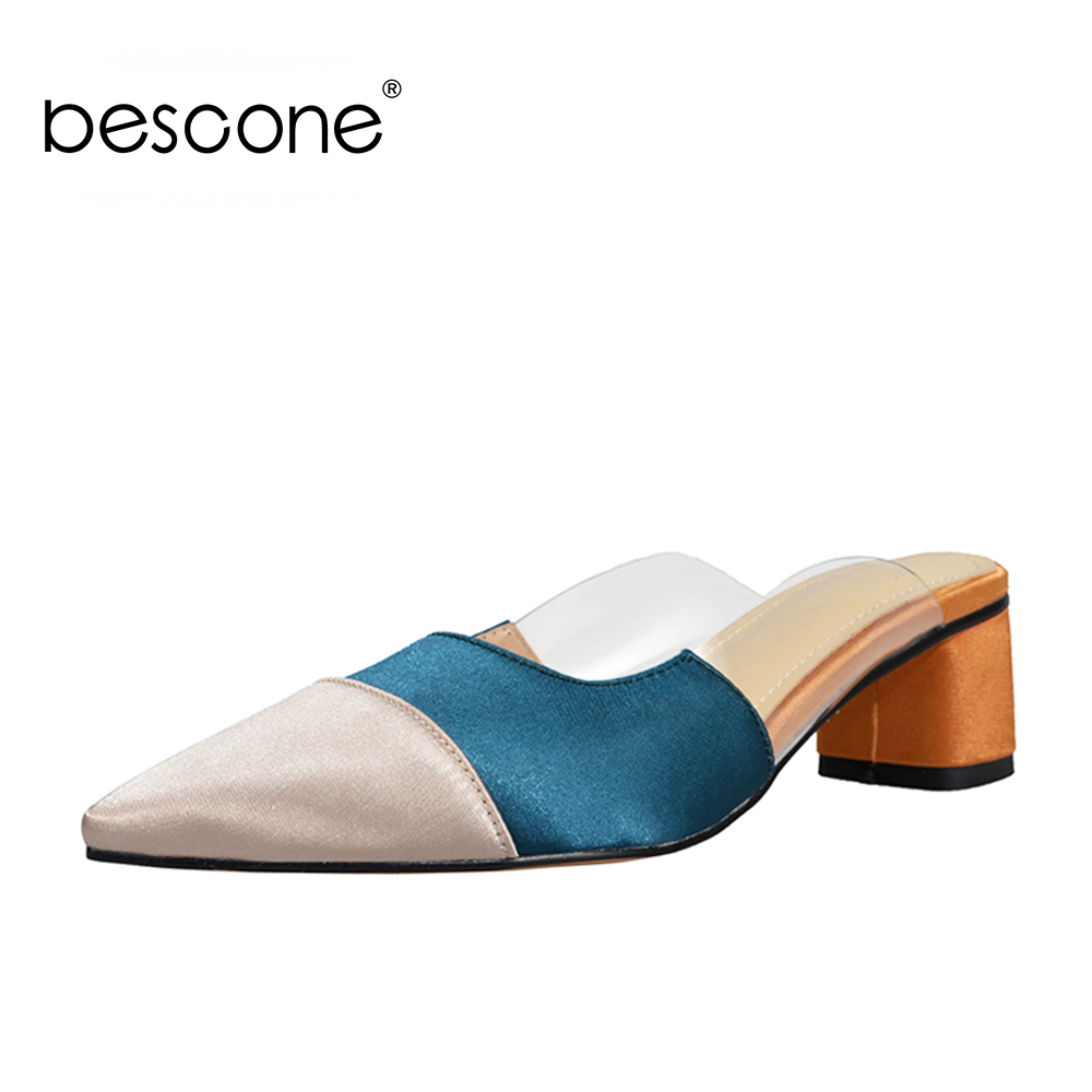 BESCONE Fashion Casual Mules Fashion Color Stitching Handmade Comfortable Lady Shoes Mid Square Heels Pointed Toe