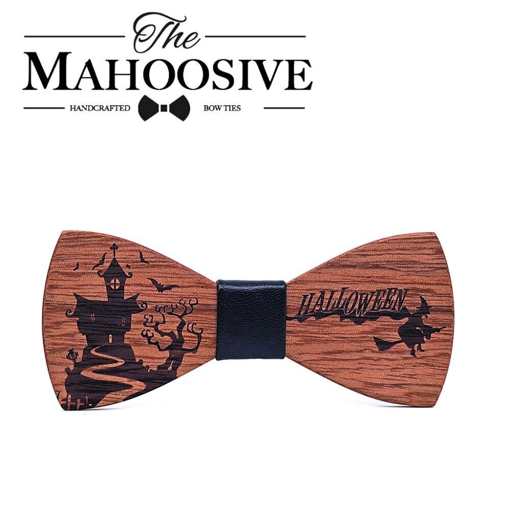 Mahoosive Herren Kinder Holz Bogen Krawatte Set für Weihnachten Halloween Geschenk Anzug Bowties Set Gravatas Hemd Krawatten helloween Dekoration