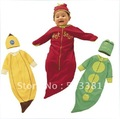 Wholesale-12 sets/lot Fashion Baby Boy&Girl's Sleeping Bags/Sleepsacks Pea&Banana&Chilli Pepper/Baby Pajamas+Cap Free Shiping