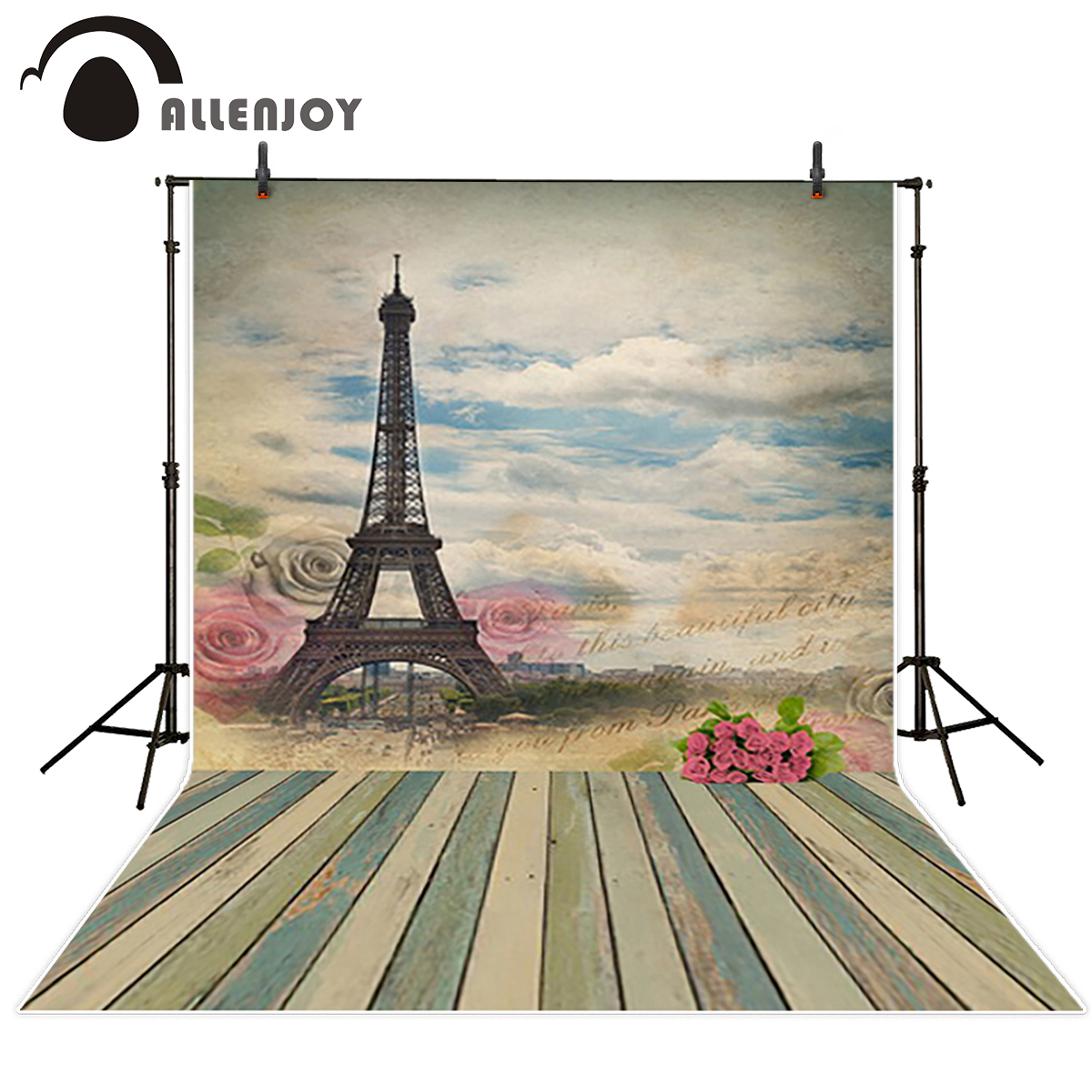 Allenjoy studio Photo background Romantic love Eiffel tower wedding photocall photography backdrops vinyl excluding stand
