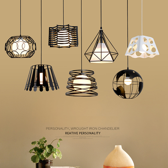 2016 Vintage Iron Pendant Lights Industrial Retro loft light Bar Cafe Bedroom Restaurant American Country LED Hanging Lamp E27