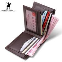 4ba0979edbc WilliamPOLO 2018 Business Casual Wallet Men Top Layer Cow Leather Purses  Men Short Wallets Metal Brand. (33). Bekijk Aanbieding. Mannen Lange  Portemonnee ...