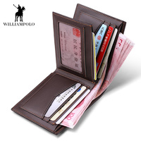WilliamPOLO 2018 Business Casual Wallet Men Top Layer Cow leather Purses Men Short Wallets Metal Brand Logo Slim Wallet POLO147
