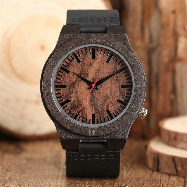 24a2cea9750 Pulseira de Couro Relógio de Pulso de madeira Natureza Artesanal de Madeira  Clássico Relógio de Quartzo