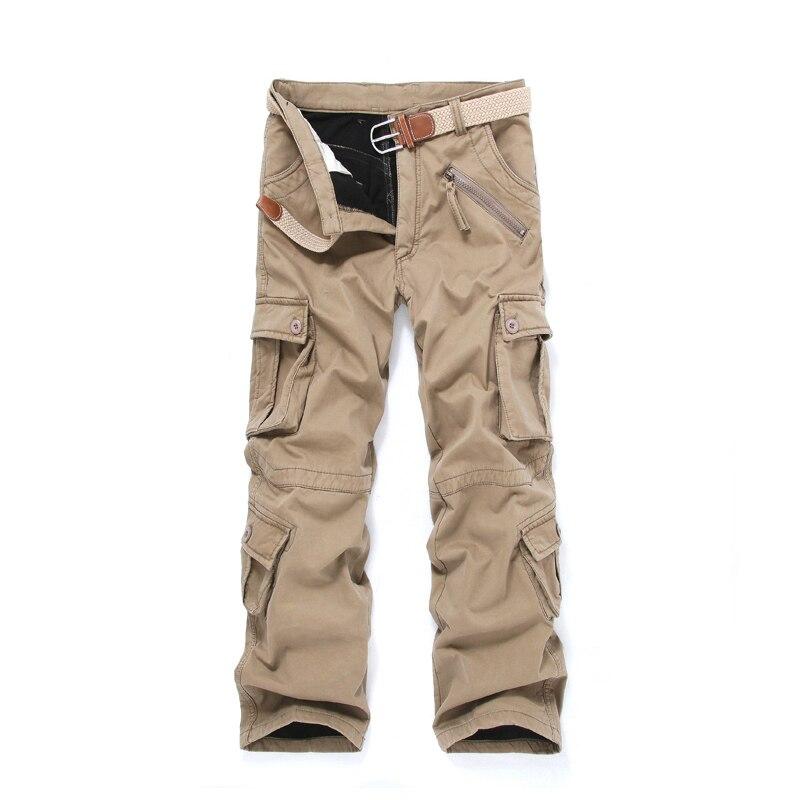 New High End Heavy Winter Warm Velvet Multi Pocket Men Loose Overall Cargo Pants Full Length