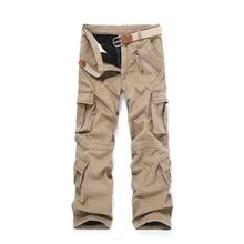 New High-End Heavy Winter Warm Velvet Multi-Pocket Men Loose Overall Cargo Pants Full-Length Zipper Fly Men's Casual Trousers