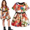 2017 Fashion Spring Autumn Brand Summer Dress Girls Short Sleeve Butterfly Print Princess Dress Kids Costume Performance Clothes