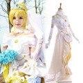 Любовь в Прямом Эфире! школа Idol Festival SR Эли Ayase Косплей Свадьба Dress Длина Пола Асимметричный с головной убор и Фата