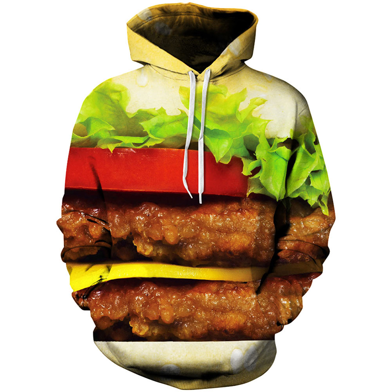 Fashion Adult Men Women Funny Food Hooded Hoodie Harajuku Graphic Coat Hamburger Hoodie Clothes Print 3D Sweatshirt Tops Hoodie