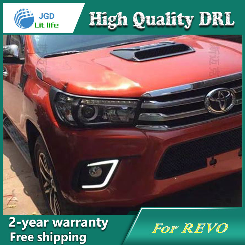 цена на Free shipping ! 12V 6000k LED DRL Daytime running light case for Toyota Hilux Revo VIGO Fog lamp frame Fog light Car styling