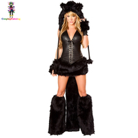 Deluxe Women Black Animal Velvet Catwoman Costumes Furry Adult Halloween Party Sexy Cat Costume Carnival Feline Bandit Kit