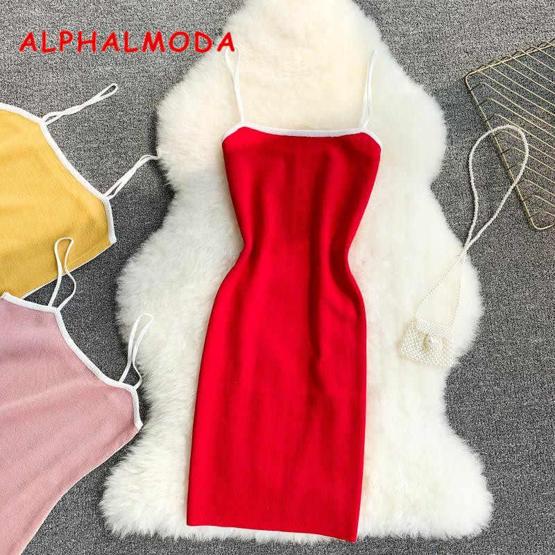 ALPHALMODA 2019 летнее женское облегающее трикотажное платье пуловеры без рукавов эластичная обёртка бедра однотонное Вязание Vestidos