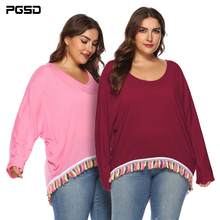 PGSD Large size women's autumn  winter new irregular bat sleeve round neck color tassel long sleeve T-shirt top Plus size Loose недорого