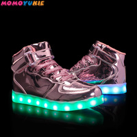 New usb charging glowing sneakers Kids Running led kids with lights up luminous shoes for girls boys children's shoes gold