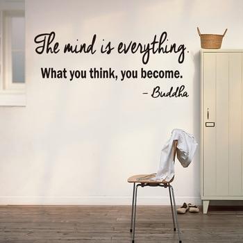 Budda kalkomania ścienna z cytatem naklejki-umysł jest wszystko, co myślisz, że, możesz stać się