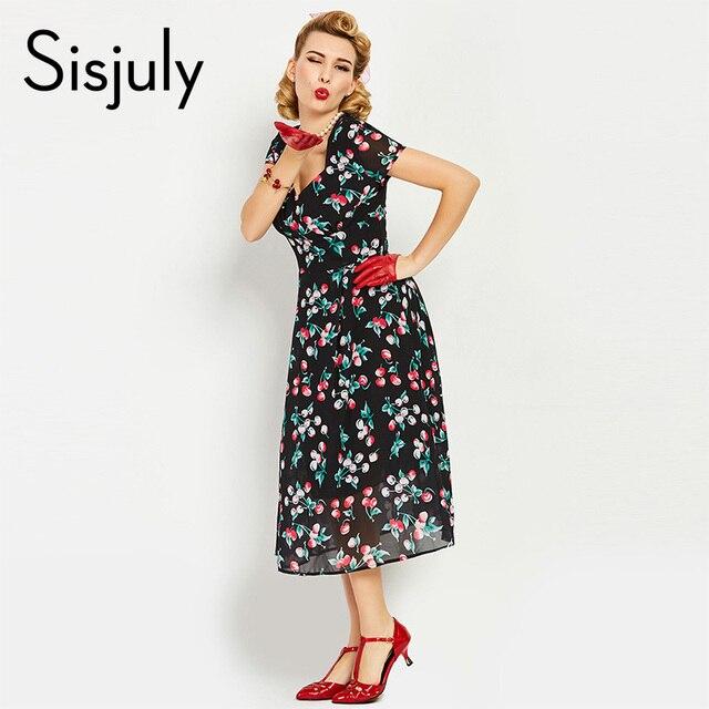 499b14ccc8 Sisjuly vintage kwiatowy sukienka eleganckie krój a rozcięcie w kształcie v  neck połowy łydki kobiety sukienka