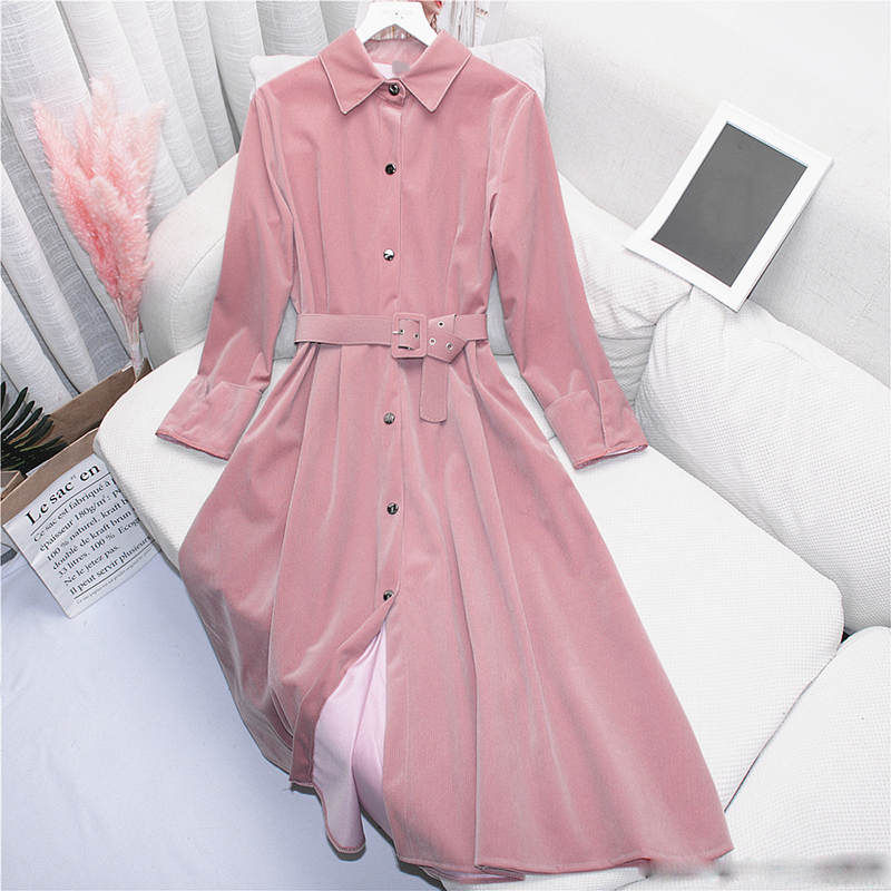 Retro Women   Trench   Coats Corduroy outwear Long Windbreaker 2019 Spring Coats Ladies European style overcoat female Elegant Coats