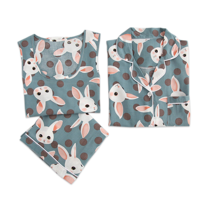 Summer Sexy 3-piece Suits Indoorwear Women Cute Bunny Simple 100% Rayon Sleepwear For Women Pajamas Sets Rabbit Bamboo Pajamas