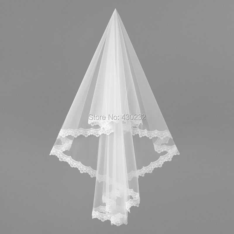 Белого цвета и цвета слоновой кости свадебная фата атласная Кружево край два слоя Свадебные аксессуары свадебная фата с короткими
