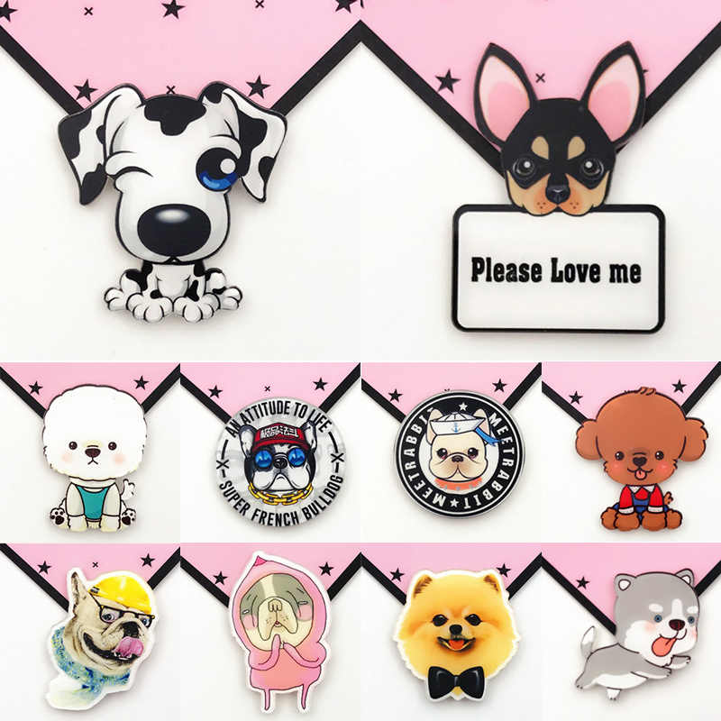 New 1PC Cute Animal Acrylic Brooch Dog Cat Badges Kawaii Pins For Clothes For Backpacks Accessories