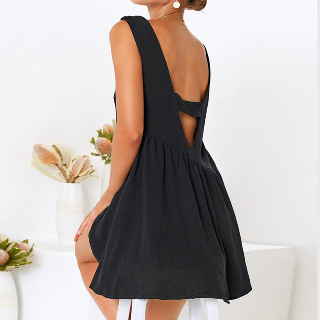 New Arrival 2019 Summer Women Dress Solid Hollow Out Beach Dress Sleeveless O Neck Casual Dress Plus Size Party Robe Femme S-XL