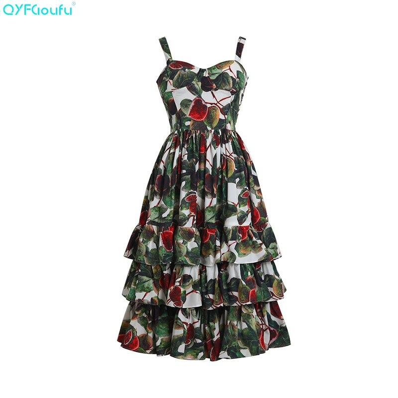 Femmes Qyfcioufu Robe Imprimé Ruches Eté Printemps Magnifique Courroie Robes Mode Gaine 2019 De Floral Vert Nouveau Midi Piste ng4FYn