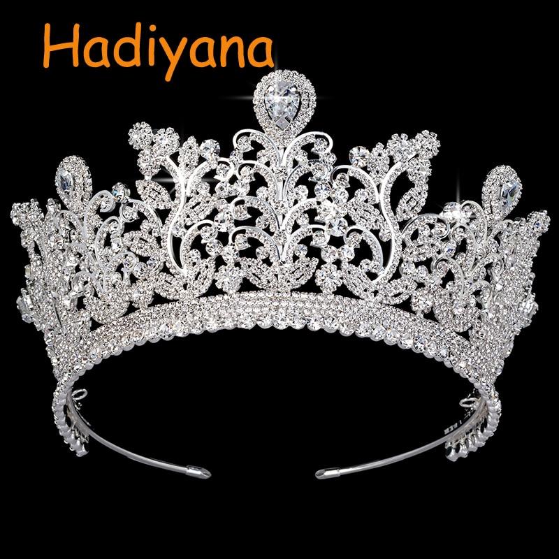 Hadiyana 2018 Nieuwe AAA CZ Wedding Kronen Koper Luxe Rhinestone Bruids Haar Tiara Bloemen Verspreid Vrouwelijke Kroon Partij BC3797-in Haarsieraden van Sieraden & accessoires op  Groep 1