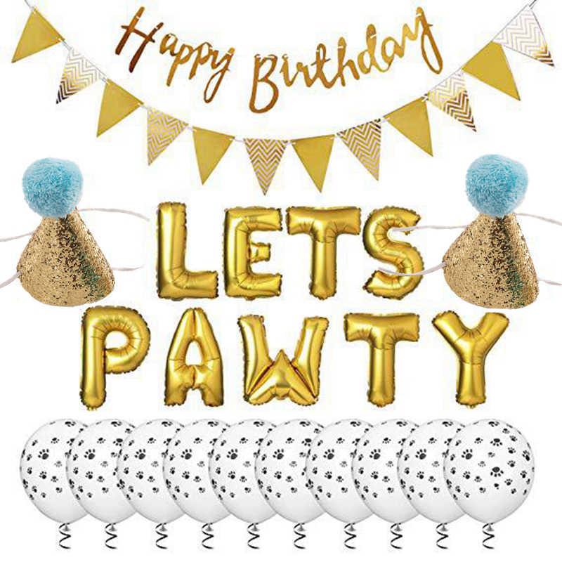 כלב יום הולדת ספקי צד כסף עלה זהב בלון באנר Paw הדפסת בלון יום הולדת לחיות מחמד כובע סט