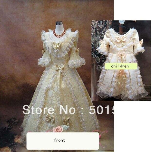 50ecbba73ae176 2 stücke set Mittelalterliche Renaissance-kleid Mutter und tochter mit  kinder Kleid Kostüm Viktorianischen