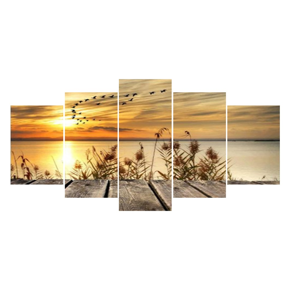 5 stücke Multi-bild Neue Diy Diamant Malerei Voll Runde Strass Diamant Malerei Stickerei Landschaft Meer Sunset HYY