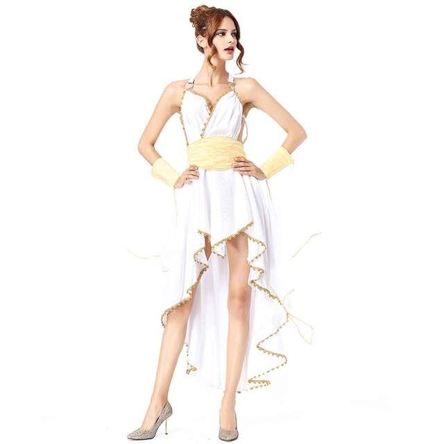 bea59d799a3 Deluxe белый греческой богини костюм для взрослых Для женщин костюмы на  Хэллоуин женский длинный с высокой