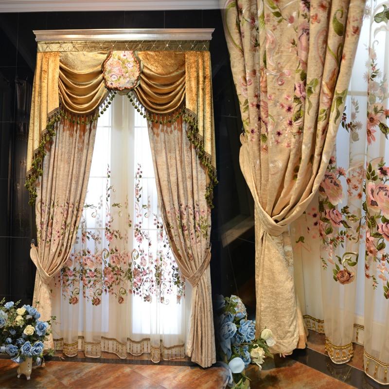 Abricot panier de fleurs rose pêche poudre chambre rideaux broderie rideau salons chambre le rideau pour dressing - 6