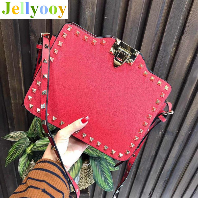 Designer Bags Famous Brand Women Bags Luxury Fashion High Quality Genuine Leather Rivet Shoulder Messenger Bags Clutch Purses