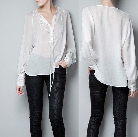 new fashion STUDIO design long-sleeve chiffon No collar pullover Loose women shirt