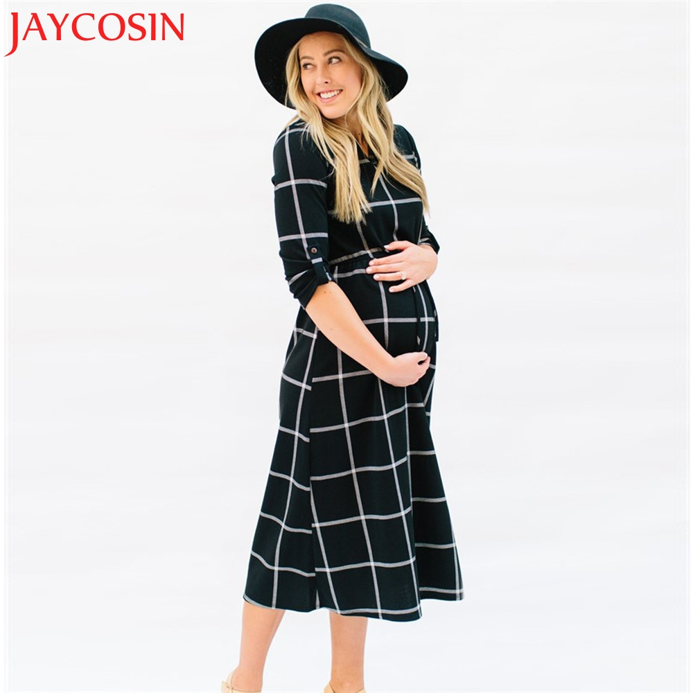 JAYCOSIN 2017 Dress Women Sexy Pregnant Sexy Photography Props Casual Nursing Boho Chic Tie Long Print Dresses Y925 Free Shiping
