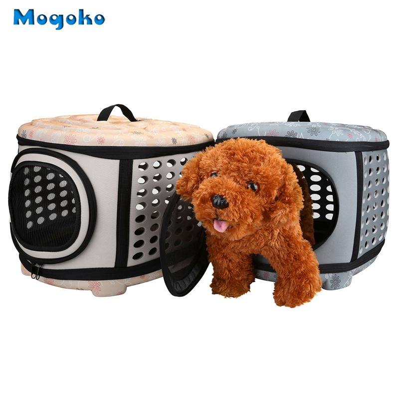 Mogoko 1pc Dogs Cats Travel Bag Folding Small Pet Carrier flower print Travel Cage Collapsible Crate Tote Handbag 2 Color L Size