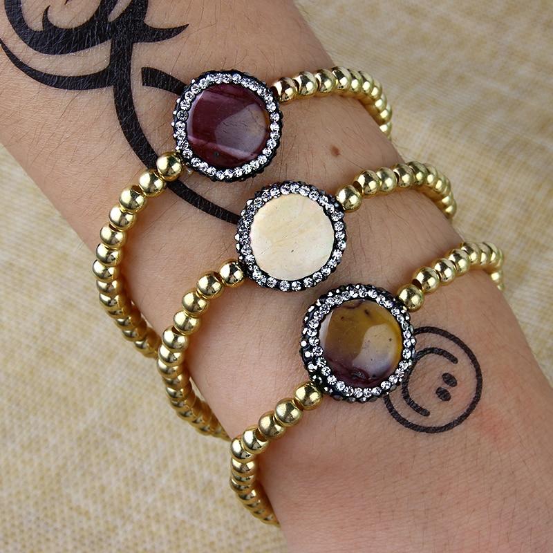 2018 New Design Women Copper beads Bracelet For Women Beads Stone Bangles For Girl Wedding Jewelry wholesale