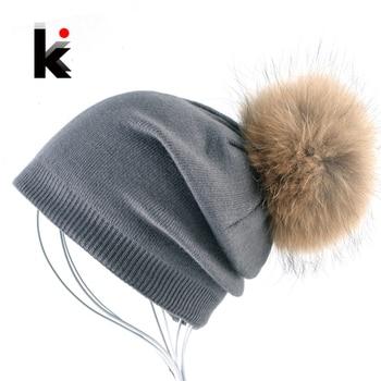 Autumn And Winter Ladies Knitted Wool Bonnet Beanie Hat Women Real Fur Big Ball PomPom Solid Skullies Caps Girls Touca Feminina 1