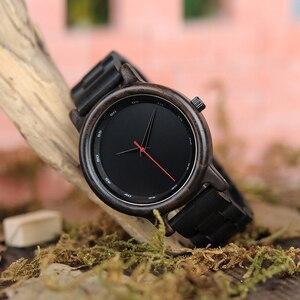 Image 4 - BOBO BIRD V P10 ساعات الرجال الطبيعية الأسود خشبية الأبنوس كوارتز موضة ساعة اليد مع الأحمر من جهة ثانية